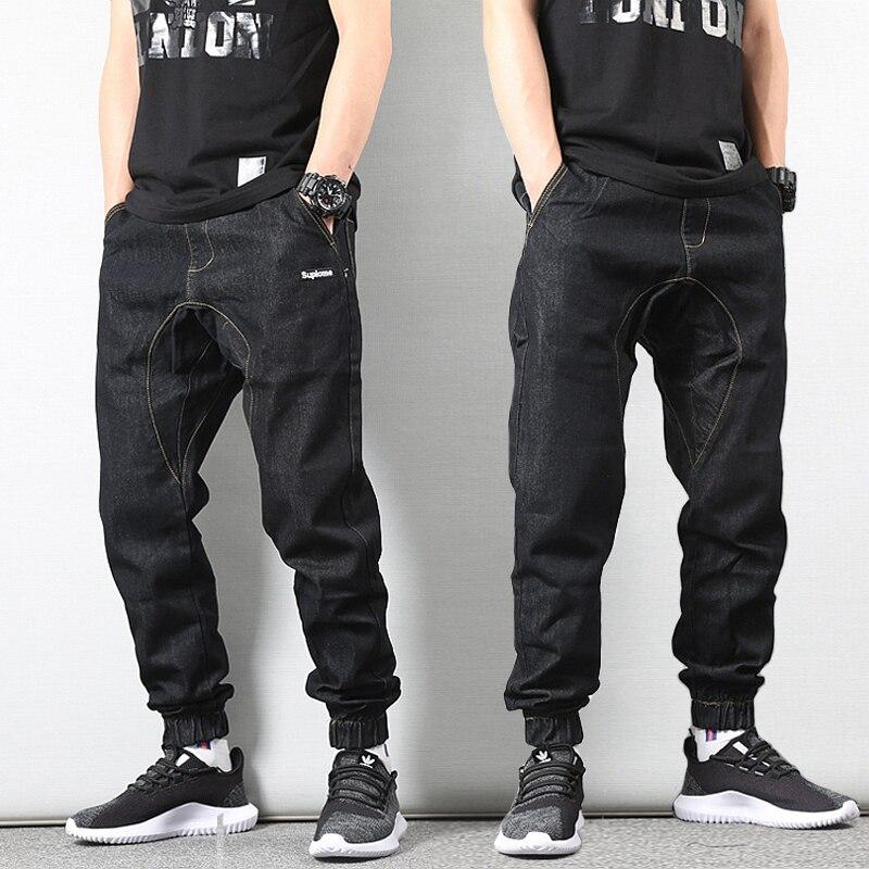 Japanese Style Vintage Men   Jeans   Black Color Loose Fit Elastic Waist Denim Cargo Pants Fashion Streetwear Hip Hop Joggers   Jeans