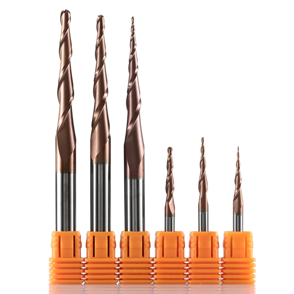 HRC62 Solid Carbide Ball Nose Tapered End Mills Cnc Carving Bit Engraving Router Bits Taper Wood Metal Milling Cutters Endmill(China)