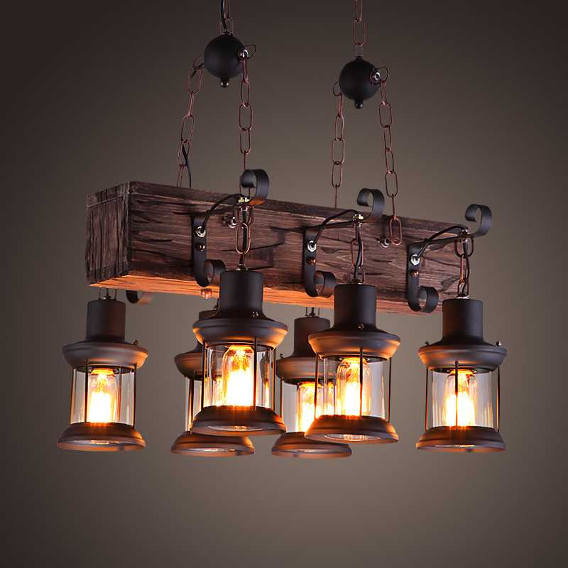 Us 213 0 40 Off Vintage Loft Pendant Light Wrought Iron Gl Shade Lamp Kitchen Hanging Ceiling Abajour In Lights From