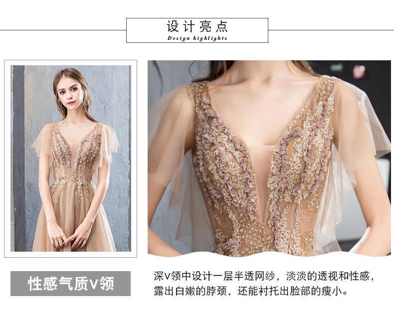 Xunyang Rendas Vestido de Noite A Noiva Banquete Sweety V-neck Mangas Curtas Bordado Longo Partido Prom Dress Robe De Soiree Custom