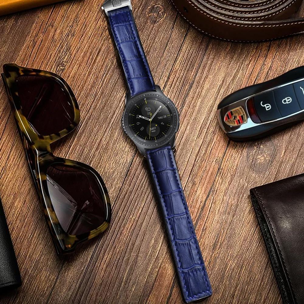 AKGLEADER Newest Genuine Leather Watch Strap For Samsung Galaxy Watch 46mm 42mm Crocodile Grain Design Band For Galaxy Watch