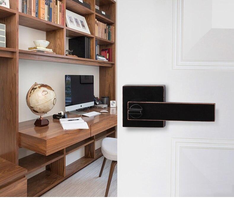 Poignées de porte carrées de serrure de porte d'alliage de Zinc de Style américain pour la poignée de meubles de salle de bains/chambre à coucher/étude