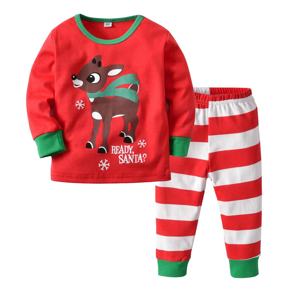 2018 пижамы детские Новые пижамные комплекты Рождественский олень с длинным рукавом футболка + штаны в полоску нижнее белье Детские пижамы Детские
