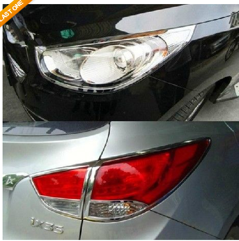 Chrome Tail light + front head lamp cover Trims For Hyundai ix35 Tucson 2010 + for hyundai ix35 tucson 2010 2011 2012 auto front