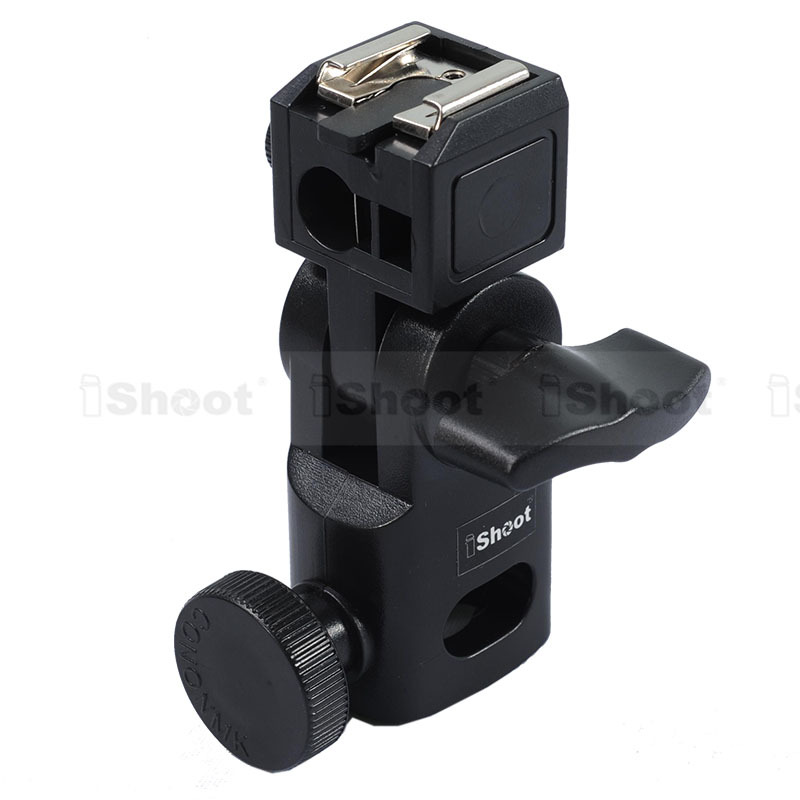 Mini Flash Bracket/Umbrella Holder - Universal Metal Hot Shoe Mount for Canon Nikon Pentax Olympus Sony HVL-F60M Speedlite