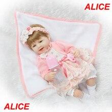 40 cm Doux Corps Slicone Reborn Baby Poupée Toys nommé Alice fille reborn doll réaliste bebe en vie reborn bonecas