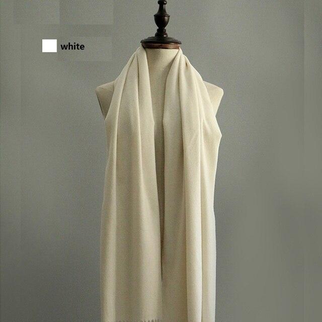 Классический стиль высокое качество мужчины и женщины шарфы женский чистый цвет шерсти шарфы большой платок зимний шарф белый
