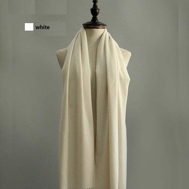 Estilo clásico de alta calidad de hombre y mujeres bufandas mujer bufandas gran chal de lana bufanda de invierno de color blanco puro