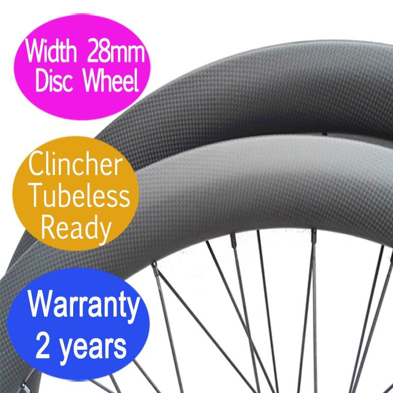 Largeur 28mm carbone vélo de route roue à disque 2 ans de garantie pneu tubuless droite pull cyclocross roues thru 12*100 12*142