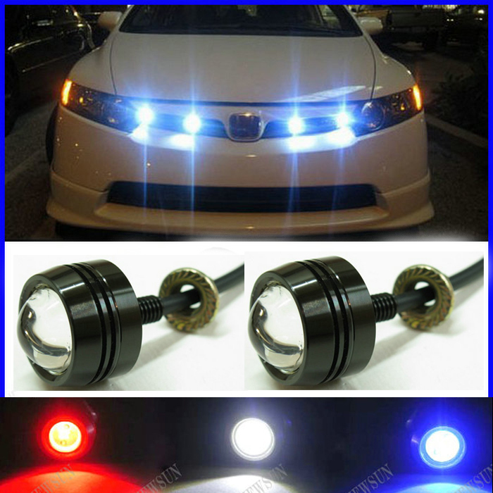 Super Thin Car LED Fog Reverse Light,Newest LED Eagle Eye White Light Daytime Running Tail Backup Light Car Motor 6w high power led larger lens car led eagle eye daytime running drl light tail light backup rear lamp white green blue red color