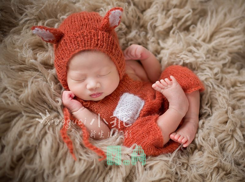 Baby Fox Hat With Romper Set  Overalls Bib Pants Photo Props Newborn Clothing Sets Animal Bonnet Photography Props newborn baby photography props infant knit crochet costume peacock photo prop costume headband hat clothes set baby shower gift