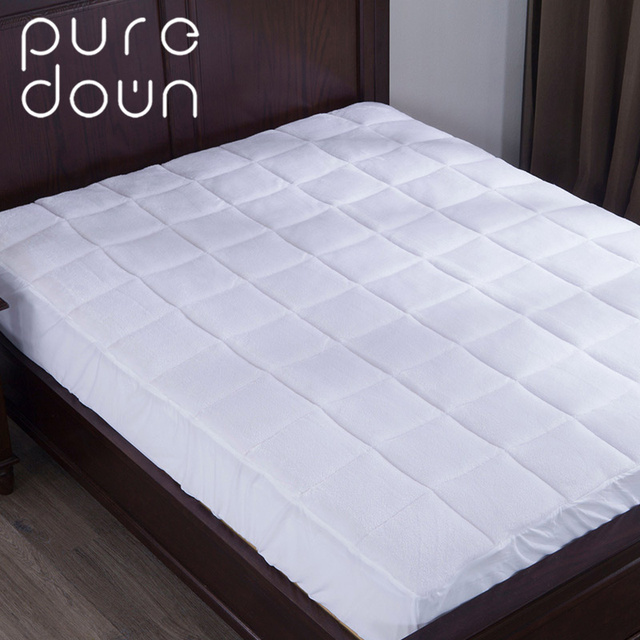 puredown luxury combed cotton mattress cover polyester nonwovens mattress protector sheet home living bedding grid mattress