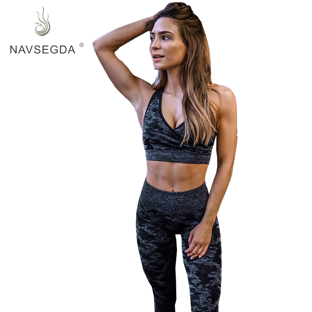 NAVSEGDA Breathable High Waist Yoga Clothes Fitness Clothes Adult Two-piece Explosion Models костюм для йоги Seamless Sport Suit