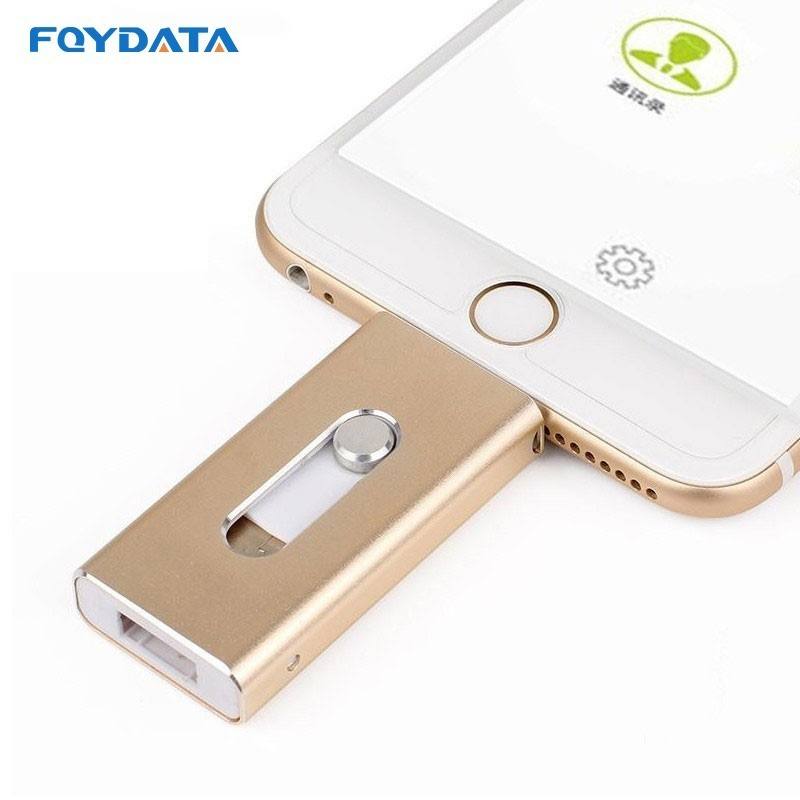 Dropshipping USB Flash Drive For iPhone X/8/7/7 Plus/6/6s/5 ipad Metal Pen drive HD Memory Stick 8G 16G 32G 64G 128GFlash Driver image
