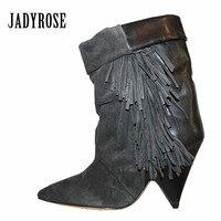 Jady Rose 2018 Nuevas Borlas de La Manera de Las Mujeres Cargadores Del Tobillo del Ante Dedo Del Pie acentuado Corto Con Flecos Botas de Spike zapatos de Tacón Alto de Cuña Femenina zapatos