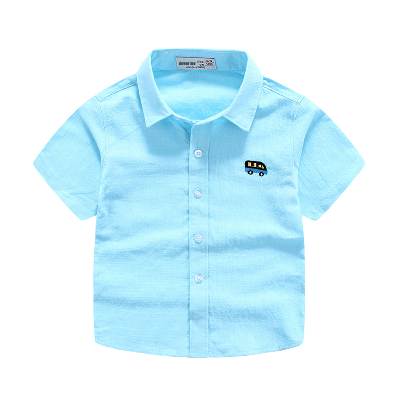 fbd79d9e4766c6 3-9 Age Children Clothing Summer Kids Boys Shirt Short Sleeve Blue White  Pink Casual Shirt For Boy Turn Down Collar Top