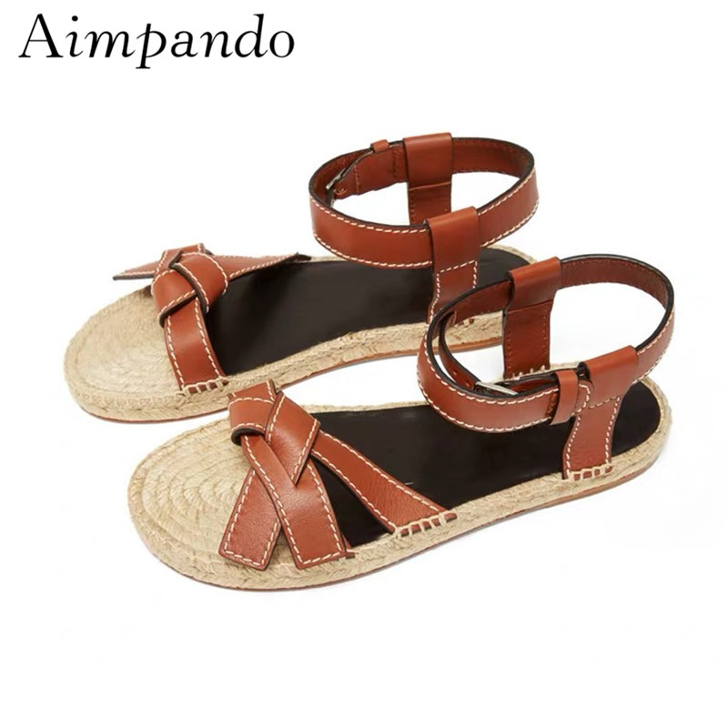 Summer 2019 Fisherman Shoes Woman Ankle Strap Round Open Toes Genuine Leather Butterfly knot Straw Flat