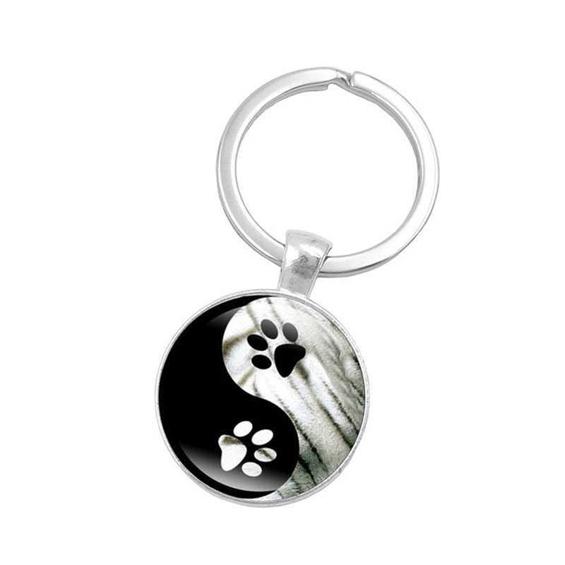 Инь Ян Тай Чи брелок милая собачья лапа печать картина стеклянная подвеска брелок Популярные стеклянные подвески