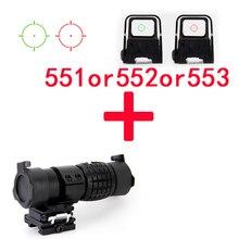 551 552 553 Holographique Optique Riflesocpe Tactique Rouge Et Vert Dot Sight Reflex + 3X30mm Loupe Portée mise au point pour la chasse