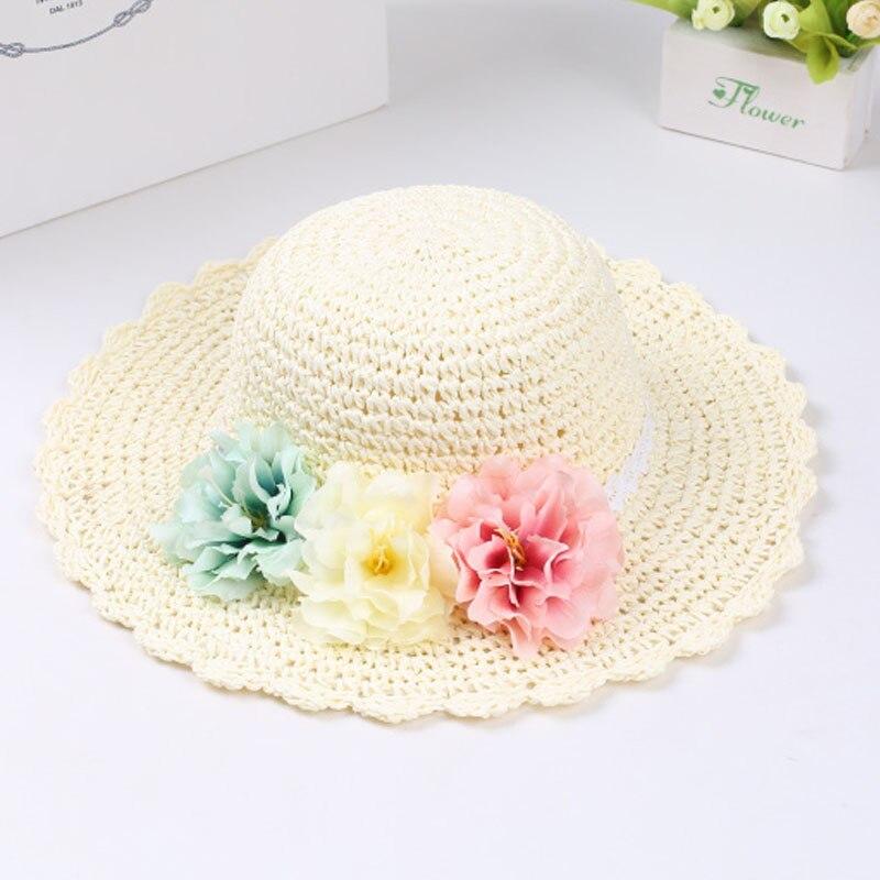 Модная летняя стильная цветная Цветочная широкополая пляжная шляпа с широкими полями для маленьких девочек, соломенная шляпа от солнца, 9 цветов - Цвет: Белый