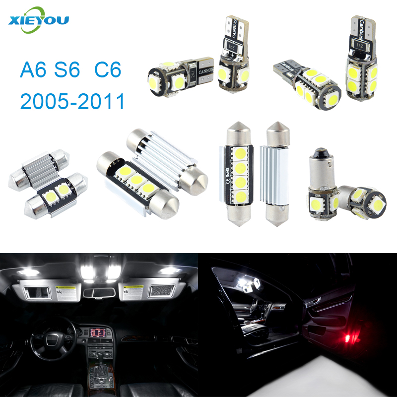 XIEYOU 14pcs LED Canbus Interior Lights Kit Package Para A6 S6 C6 (2005-2011)