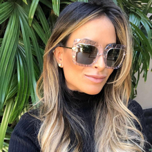 PAWXFB 2019 Brand Designer Oversized Square Female Sunglasses Women Fashion Hand Made Alloy Eyewear Shades