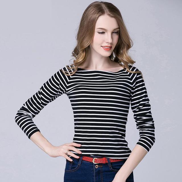 4XL Women Tshirt Plus Size Long Sleeve Slash Neck Striped Tops Casual Slim  Cotton Tee Shirt afae4917d