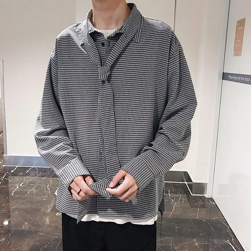 Fashion Casual Men's Shirt Spring And Autumn New M-Xl Plaid Joker Loose Top Jacket Khaki Black Personality Youth Popular