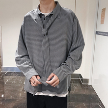 Fashion Casual Men's Shirt Spring And Autumn New M-XL Plaid Joker Loose Top Jacket Khaki Black Personality Youth Popular цена