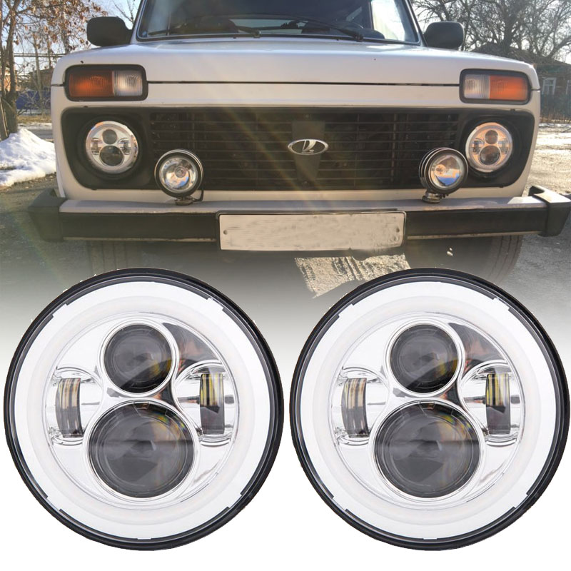7 12V 24V LED Headlight with Halo Ring For VAZ 2121 Lada Niva 4x4 7INCH LED