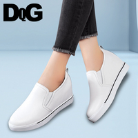 DQG 2018 Spring Casual Slip On Increase In Height Women Shoes Solid Split Leather Flat Platform