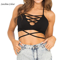 Lace up women tops Sexy  halter tank top V neck backless camis cross camisole tank Girl bustier crop top