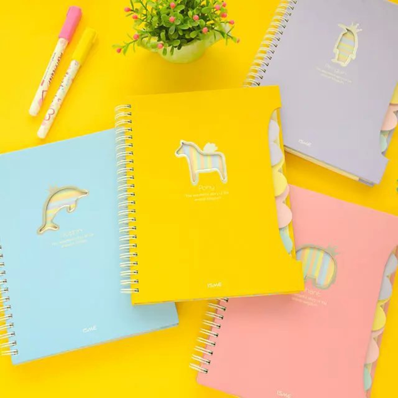 Cute Coil Weekly plan Animal Spiral Notebook Diary books agenda caderno escolar stationery office School supplies a5 a6 6holes heart hand account page notebook notebook agenda caderno escolar office school supplies