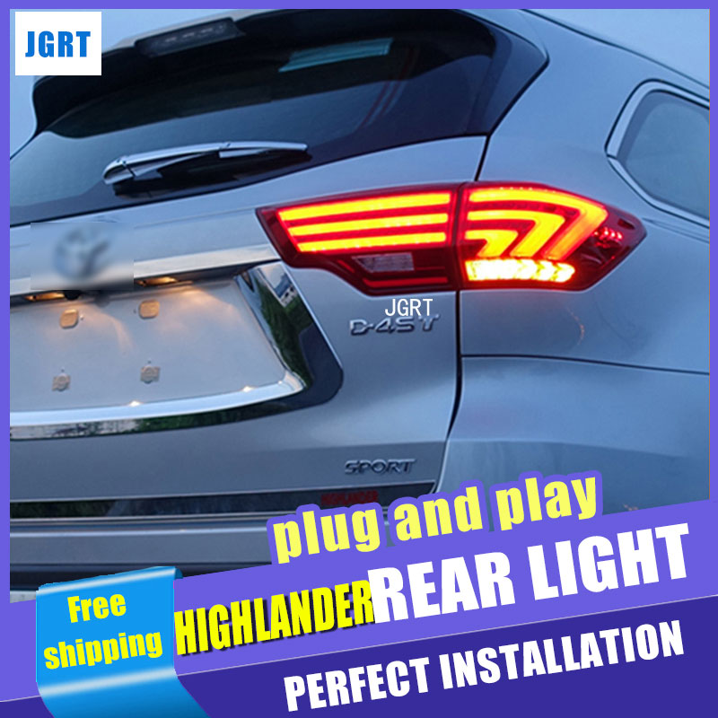 Car Styling 2015 Highlander Taillights New Highlander LED Tail Light Rear Lamp DRL+Turn Signal+Brake+Reverse auto Accessories car styling tail lights for toyota highlander 2015 2016 taillights led tail light rear lamp drl brake signal auto accessories