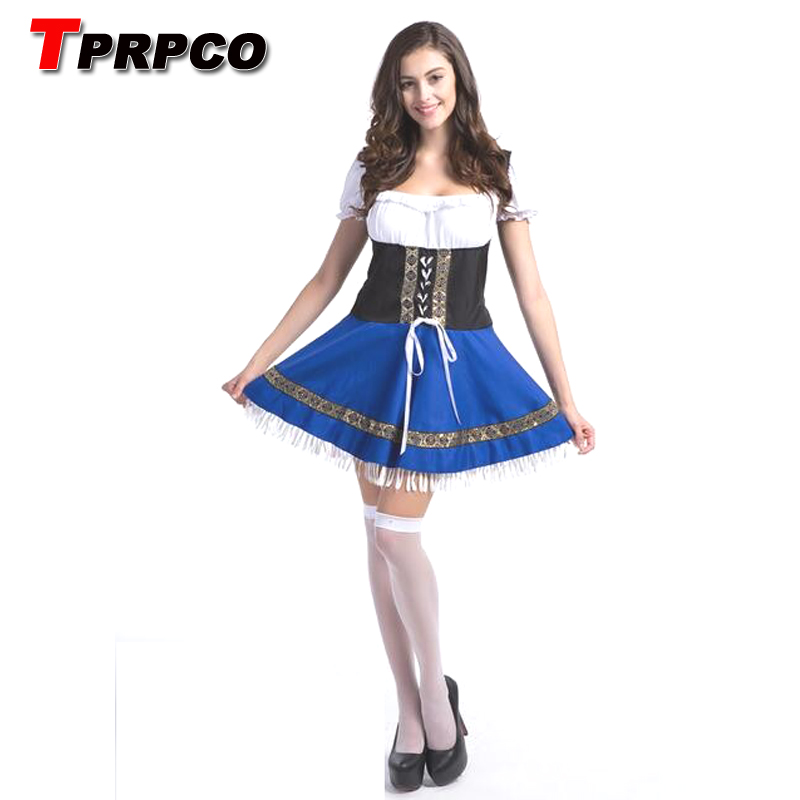 Tprpco Sexy Blue Beer Costume Girl Wench Maiden