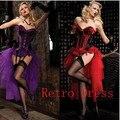 Envío gratis Ladies adultos Burlesque Dancer Moulin vestido de lujo púrpura traje de Cabaret