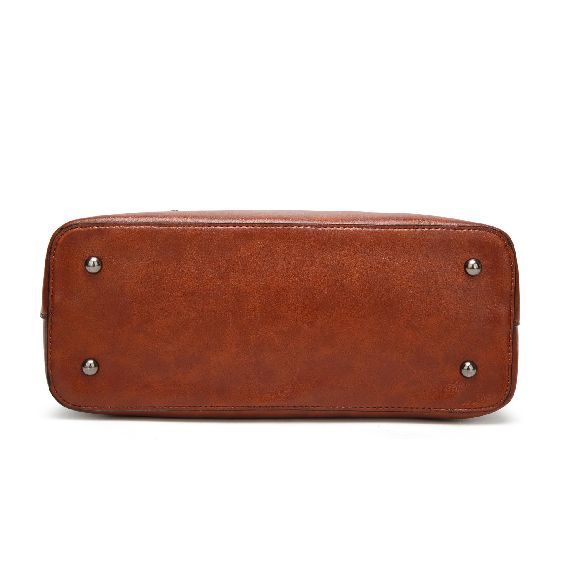 Image 4 - Сумка ведро из вощеной кожи, простая сумка через плечо с двойным ремешком для женщин 2018, универсальная сумка для шоппингаСумки с ручками   -