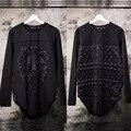 Avant Garde Mens Edge Unbalance Hoodie Warm Lion Embossing Rivet ZiPPER Hooded Sweatshirt Coat Jacket Outwear Mens Tops