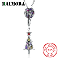 BALMORA 100% 925 Sterling Silver Jewelry Crystal Christmas Tree Fashion Pendant Necklaces for Women Party Gift Bijoux SVM002