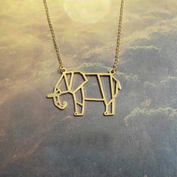 Elephant Origami Pendant, Animal Elephant Jewelry Gift for Friend free ship 12pcs/lot
