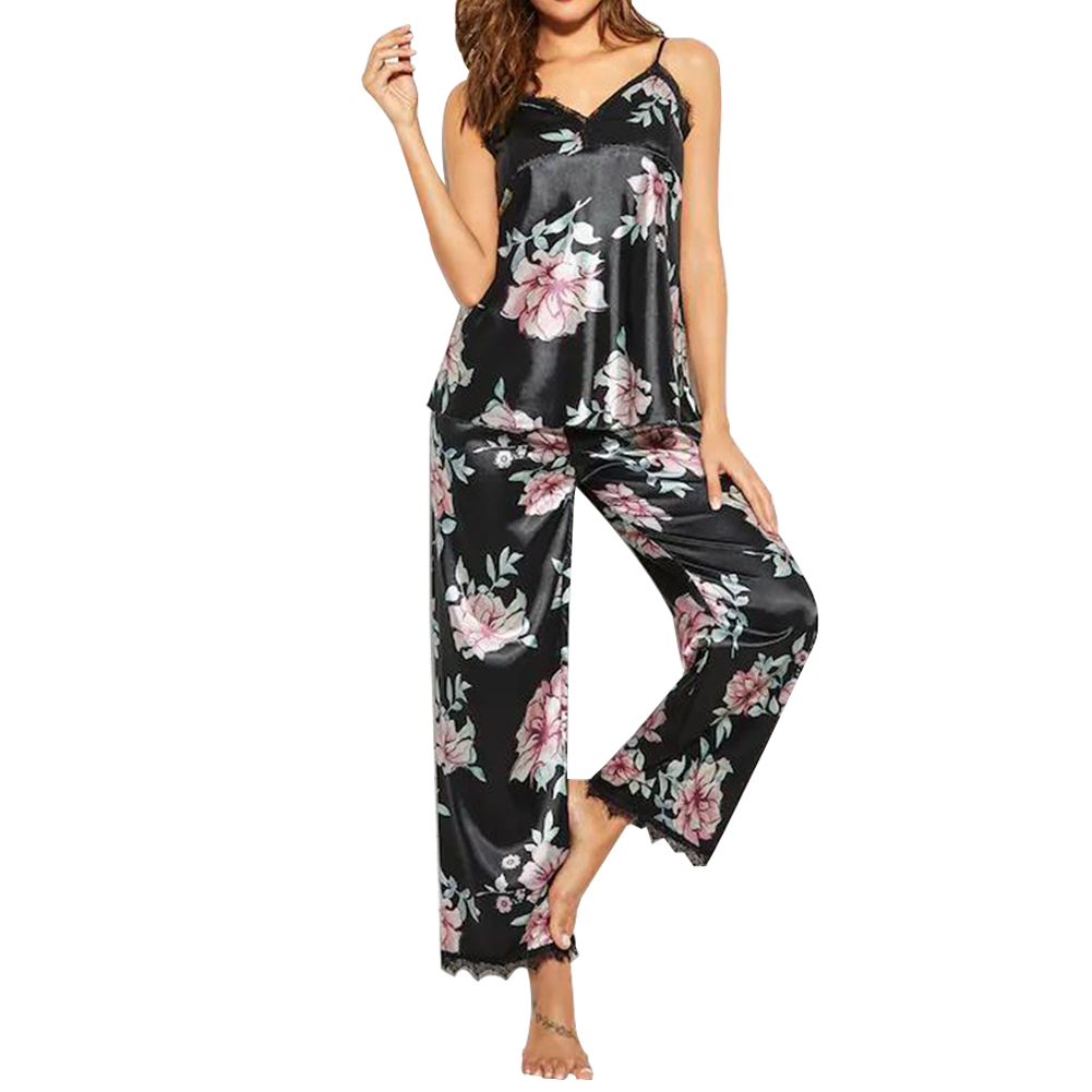Women Loose Polyester Pajamas Set Sleeveless Fashion Tops Pants Floral Lounge Wear Summer Camisole Sexy V Neck Nightwear Casual