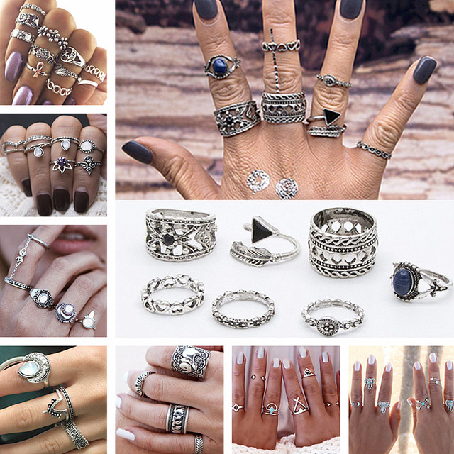 Rings Set Beach Jewelry Finger Ring Fashion Anel Anillos Bohemian Antique Statem