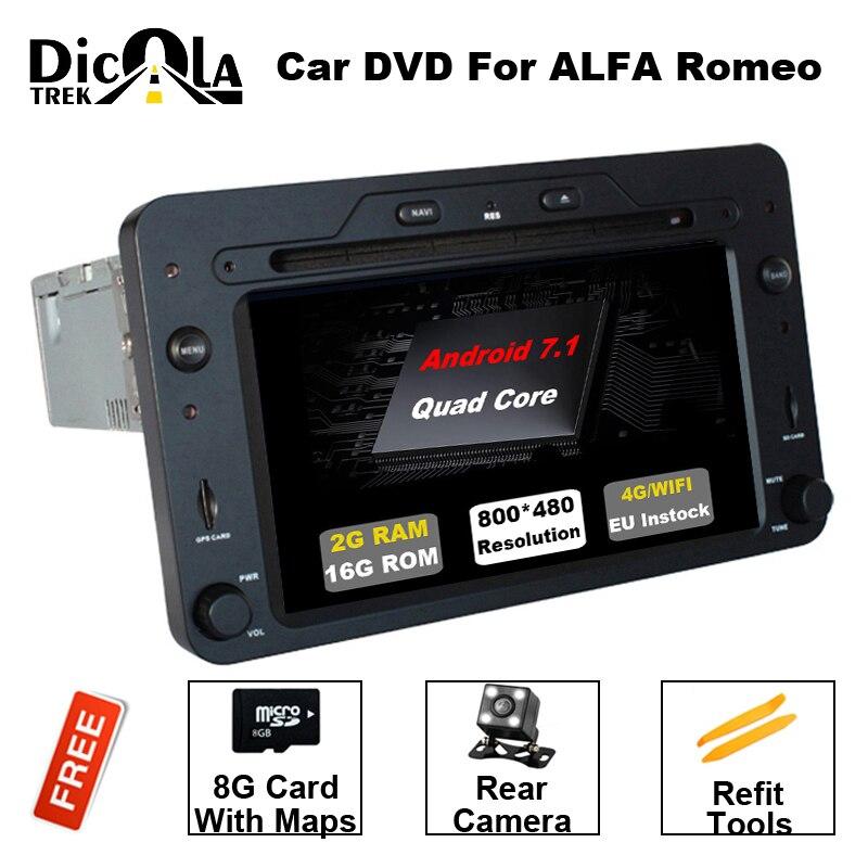 Quad Core Android 7.1.1 Voiture DVD GPS pour Alfa Romeo 159 Sportwagon Araignée Brera avec BT Wifi Radio RDS OBD soutien 4g/DAB +/DTV