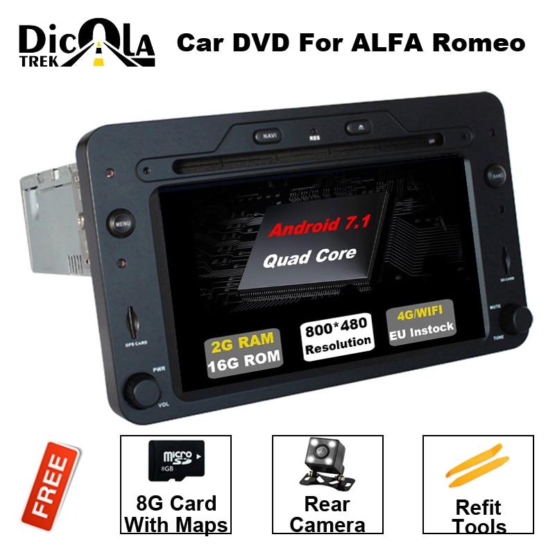 Quad Core Android 7.1.1 Auto DVD GPS per Alfa Romeo 159 Sportwagon Spider Brera con BT Wifi Radio RDS OBD supporto 4g/DAB +/DTV