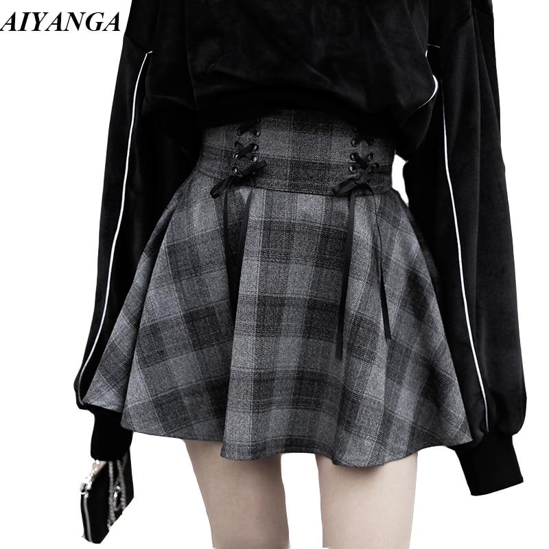 Preppy Style Women Skirts Autumn Plaid Skirts Female High Waist Lace Up Big Hem Mini Skirt For Girls A-Line Skirt Winter 2018