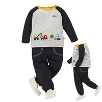 2018 High Quality Baby Boys Clothing Set Infant Toddlers Terry Cotton Long Sleeve Top Shirt Pants