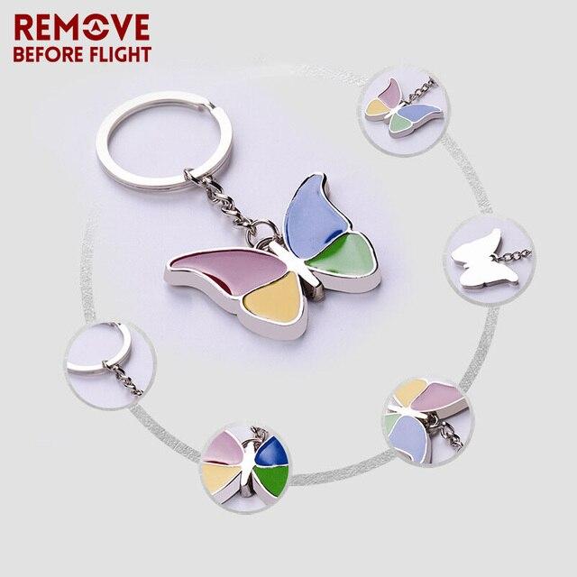 Wholesale Fashion Jewelry Enamel Colorful Butterfly Shape Keychain Women  Key Chain Holder Car Bag Pendant Keyring 10 PCS LOT 5ce92321a