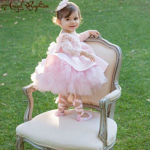 Puffy pink tulle little girl prom dress tutu open back long sleeves flower girl dresses with bow baby 1 year birthday party gown виниловый проигрыватель pro ject debut carbon dc walnut 2m red