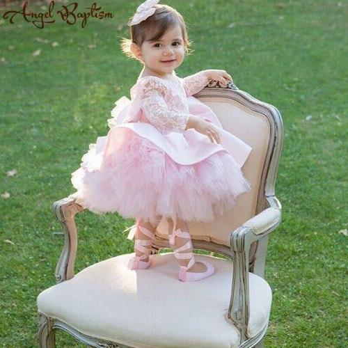 Robe de bal petite fille en tulle rose gonflé tutu dos ouvert manches longues robes de demoiselle d'honneur avec nœud bébé 1 an robe de fête d'anniversaire