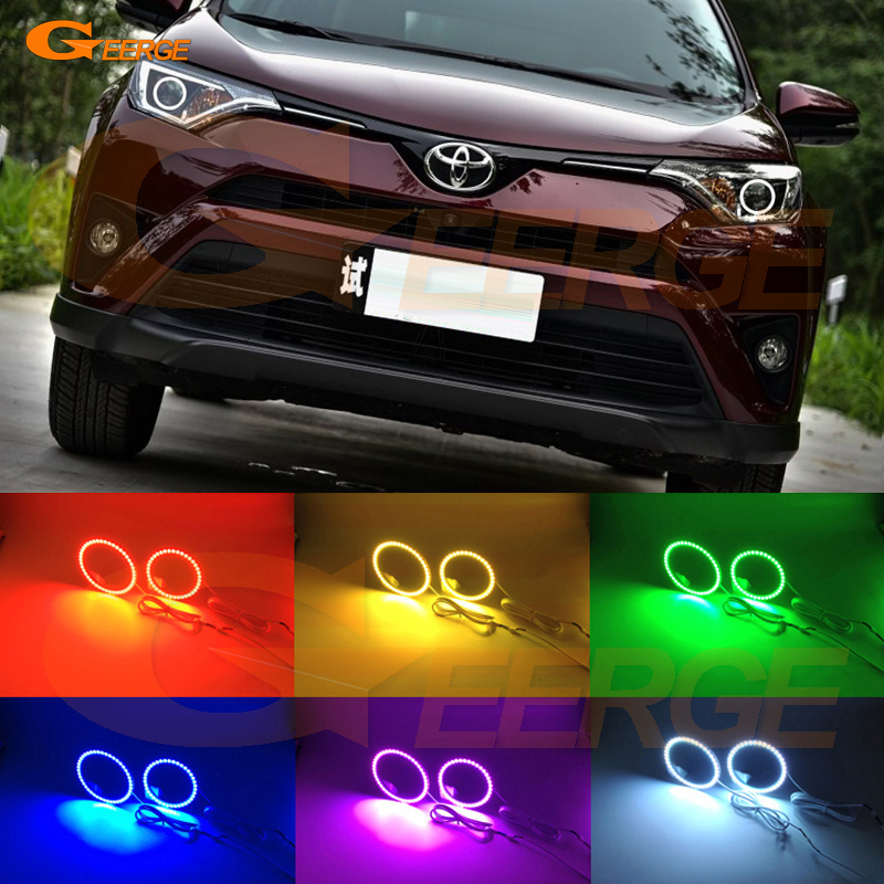 For Toyota Rav4 2016 2017 Excellent Angel Eyes Multi-Color Ultra bright RGB LED Angel Eyes kit halo rings 4 90mm rgb led lights wholesale price led halo rings 12v 10000k angel eyes rgb led angel eyes for byd for chery for golf4